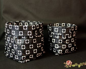Set of 2 bags / empty pockets, black and white in a beautiful fabric upholstery