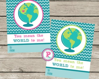 Kid Cards You mean the world to me Globe Traveler Classroom Party Hand out Instant Download Fill In Globe Gummies Candy Treat Tags Boy Girl