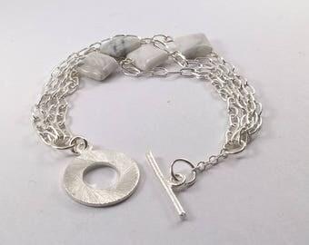 Howlite Bracelet, Howlite Silver plated bracelet, silver plated bracelet, Howlite jewelery, bracelet, gemstone bracelet, gemstone jewelery.