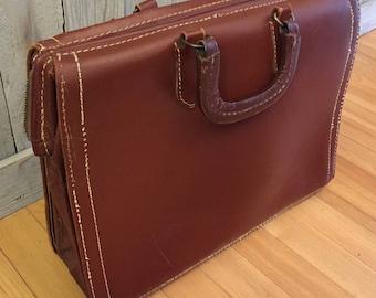 SALE! Vintage Thick Split Cowhide Briefcase