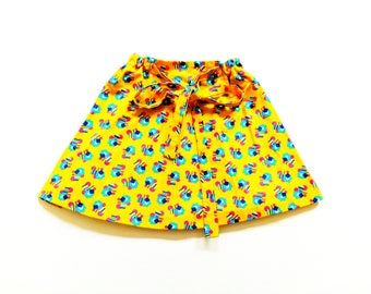 70s girlS skirt Size 7-8Y floWers hippie Rock 70er hipSter reTro oldschool