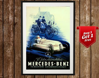 Mercedes Benz Vintage Poster, Mercedes Print, Racing Poster, Mercedes Sign, Sports Car Poster, Vintage Car Print, German Car Print, Classic