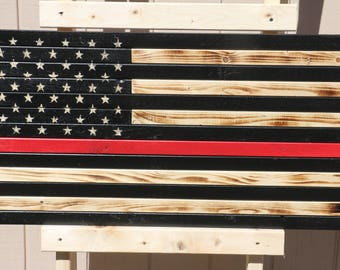 Rustic thin red like american flag