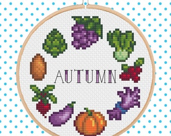 Stardew Valley - Autumn/Fall Crops Cross Stitch Pattern Pixel Art