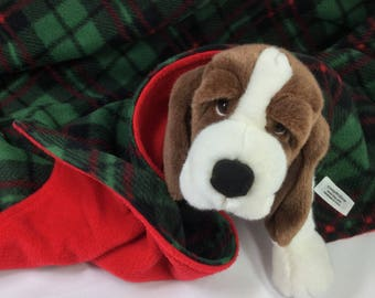 CHRISTMAS Fleece Pet Blanket Reversible Hemmed 35 x 29 for Puppy Dog or Cat Bedding--Dark Green and Red Plaid, Red Backing - Handmade in USA
