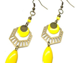 """""""Sequin earrings"""" bronze / yellow """"chic and trendy"""""""