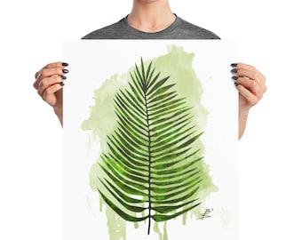 Watercolor Palm Leaf Poster, 8x10, 16x20, 18x24, BoHo Decor, Botanical Art Print