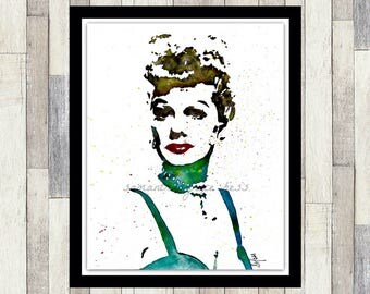 I Love Lucy Inspired, Lucille Ball, Original Watercolour Print, Old Hollywood Decor, Women's Gift, Wall Art