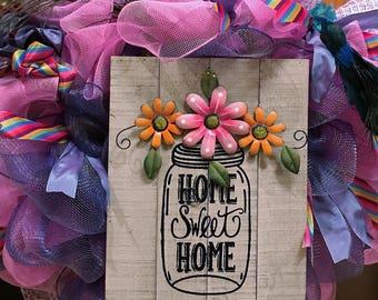 Home SWEET Home Poly Deco Mesh Wreath