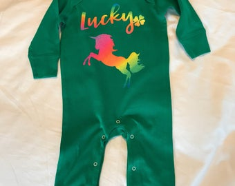 Lucky as a Unicorn Romper