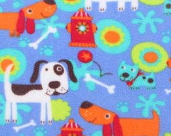 Bright Doggies Fleece Tied Blanket