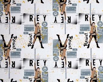 tissu patchwork coton blanc Star Wars The Last Jedi Rey Lead