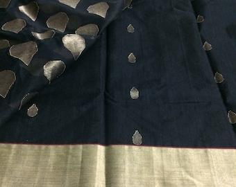 Black silk cotton chanderi saree