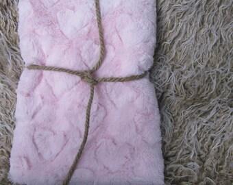 18x20 Short Baby Pink Heart Cuddle Minky Fur Nest Newborn Photography Prop Large Stuffer layering blanket