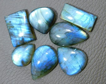 Very Rare ! Natural Blue Labradorite Cabochon Loose Gemstone 174.00 Cts  16x26 19x26 MM Approxi Mix Shape Blue Power Smooth Polish