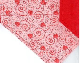 Red Hearts & Scrolls on Pink (Glitter) Bandana | Valentines Dog Bandana | Puppy Bandana | Pet Bandana | Over the Collar Bandana