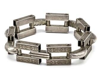 Edwardian Bracelet, Rare Antique 1910s Sterling Chain Link Bracelet, Engraved Silver Flower Motif Edwardian Jewelry, Chunky Silver Bracelet