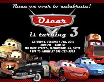 Disney Cars Invitation Birthday Party