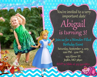 Alice in Wonderland Invitation Birthday - Alice in Wonderland Party