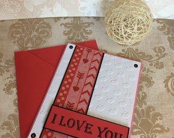 I Love You Card, Handmade Card, Handmade Valentines Card, Valentines Card