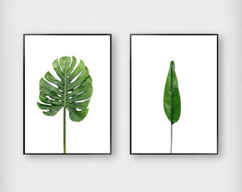 Set of 2 Leaves Print | Botanical | Green | Tropical - Monstera - Poster