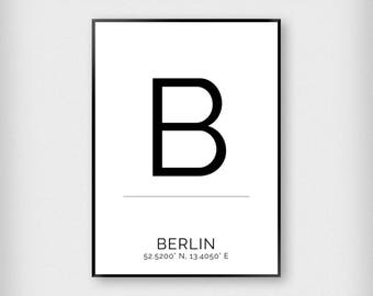 Berlin | City | Black and White | Coordinates - Fashion - Poster
