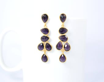 Amethyst earring,Purple color earring,chandelier earring,February birthstone earring,gemstone earring,gold plating earring,amethyst jewelry