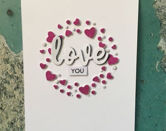 Love card, greeting card , to him, to her, bold, hearts , valentine day , folding card, glitter, card stock