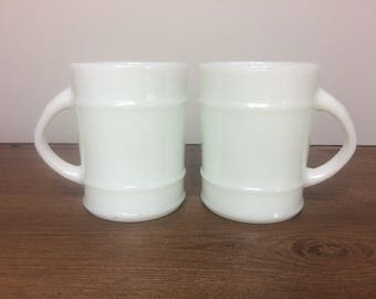 Vintage Fire King Tall Coffee Mugs with Ridges