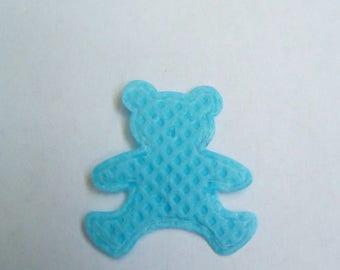 Applique fabric bear blue 19x17mm