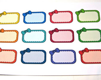 Planner Stickers - Erin Condren Stickers - Day Designer - Functional Stickers - Half Box Stickers - Boxes with Bows - Bow Stickers