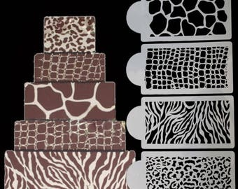 4 Count Animal Print Stencil Set