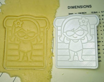 Girl on Floating Sunbed Cookie Cutter and Stamp