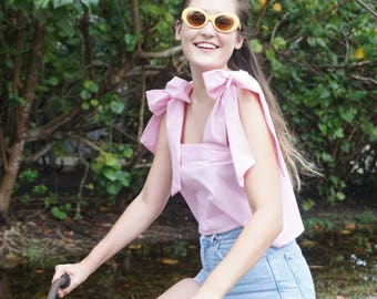 The Bella Top in Pink Gingham