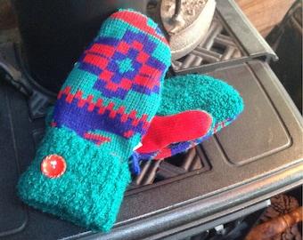 Southwest  style sweater mittens , medium