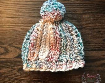 Crocheted Beanie // Crocheted Multi-colored beanie