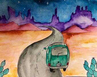 Desert watercolor / southwest / Volkswagen / wanderlust / road truo / original art