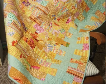 Mint and Yellow Baby Quilt
