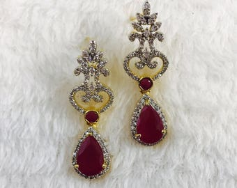 Imitation Rhinestone and Ruby Earrings/ Imitation Fashion Jewelry/ Diamond and Ruby Small Chandelier Earrings