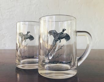 Federal Glass Sportsman Gamebird Handled Beer Mugs (Set of 2)