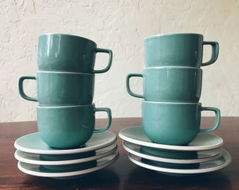 Sasaki Colorstone Vert de Gris Textured Cups and Saucers (Set of 6)