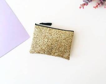 Gold Glitter Clutch Bag, Glitter Clutch Purse, Gold Coin Purse, Glitter Coin Purse, Sparkly Make Up Bag, Glitter Zipper Wallet,Glitter Purse