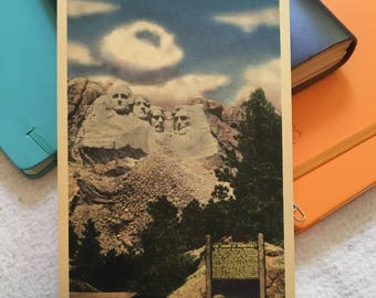 Vintage XL Postcard- Mount Rushmore with Sign