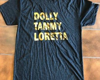 Dolly Tammy Loretta Heather Black Tee