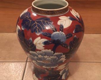 Vintage Gold Imari Hand Painted Porcelain Vase Red Blue Gold Trim