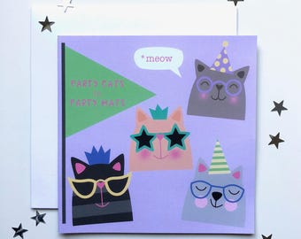 Party Cats in Party Hats Birthday Card