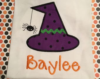 Girls halloween shirt, toddler halloween shirt shirt, witch hat shirt, spider halloween shirt, name halloween shirt, embrodiered, appliqued