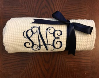 Monogram set of FIVE Bridesmaids Bath Wraps, Spa Wrap, Towel Wrap, Waffle Towel Wrap, Monogram Towel  Wrap