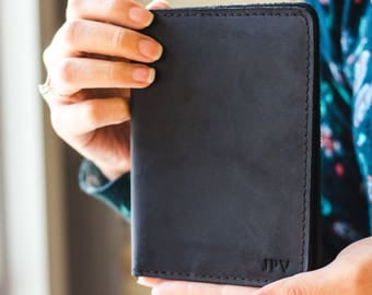 NEW Black Leather Travel Wallet, Distressed Leather Passport Wallet, Leather Passport Holder, Passport Cover - Pike | Charcoal Black