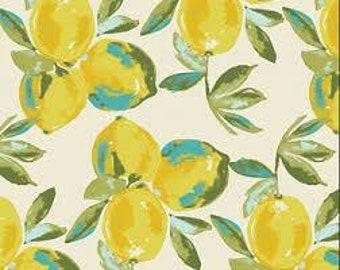 Yuma Lemons Mist Canvas - Sage Designed by Bari J - Art Gallery Fabric - Cotton Canvas Fabric